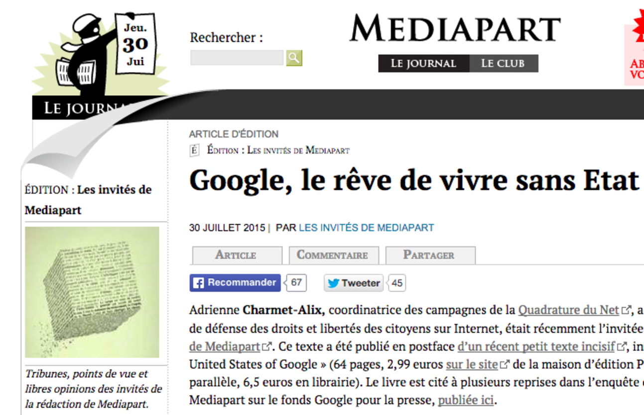 'The United States of Google' : la postface d'Adrienne Charmet-Alix sur Mediapart